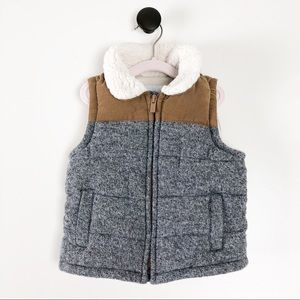 Old Navy Baby Boy Sherpa Collar Vest Grey Brown
